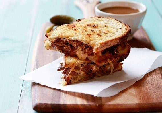 In this Slow Cooker French Dip Panini Recipe, Classic French Dip Sandwiches are converted to a Panini Recipe, crispy sourdough bread being the perfect medium to soak up the delicious au jus.