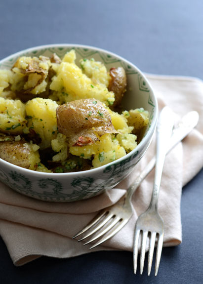 Smashed Potatoes with Parmesan Gremolata | Good Life Eats
