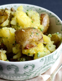 Smashed Potatoes with Parmesan Gremolata