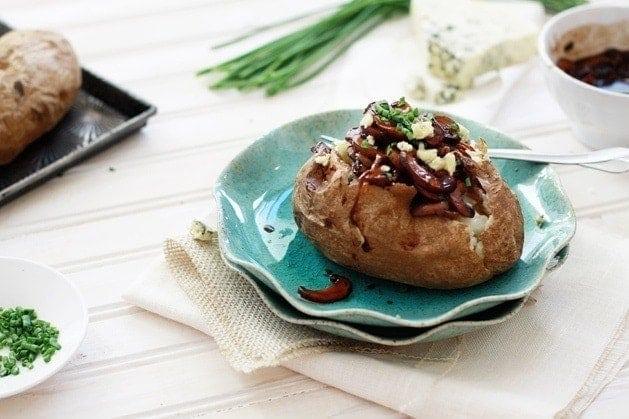 Balsamic Caramelized Onion and Mushroom Loaded Baked Potatoes