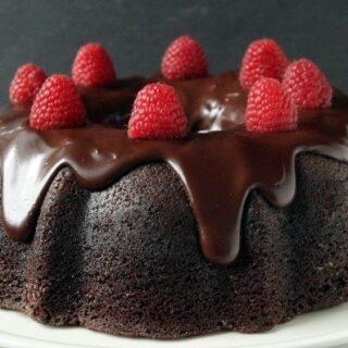 Whole Wheat Chocolate Raspberry Cheesecake Bundt Cake