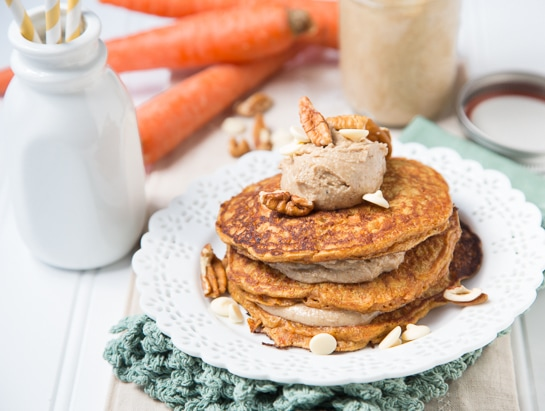 Easy Carrot Cake Pancakes with White Chocolate Pecan Butter