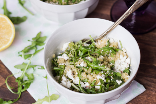Warm Arugula Salad with Quinoa and Goat Cheese - Queen of Quinoa