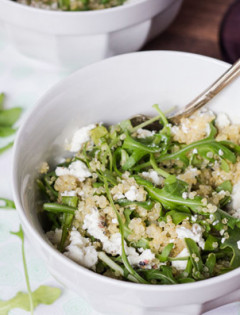 Warm Arugula Salad with Quinoa and Goat Cheese - Queen of Quinoa - featured img
