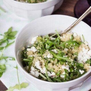 Warm Arugula Salad with Quinoa & Goat Cheese