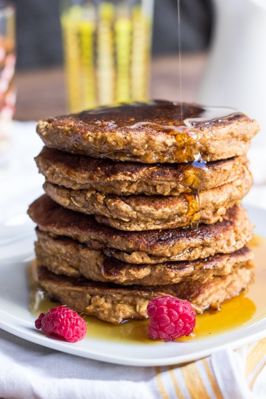 Healthy Applesauce & Oatmeal Pancakes via Queen of Quinoa