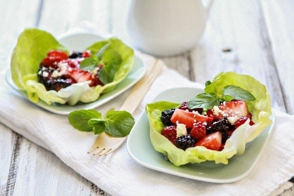 These Balsamic Berry Salad Lettuce Cups are the perfect light salad for warmer months. They would also be great served as a healthy a snack or appetizer. If you'd like a light dinner or lunch, try adding a few strips of grilled  chicken to the berry mixture.
