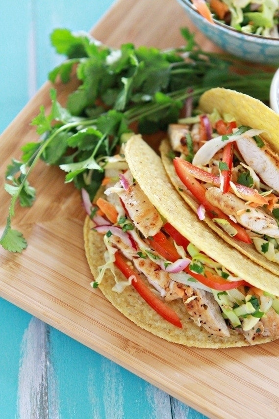 Lemon Pepper Chicken Tacos with Crunchy Cilantro Lime Slaw