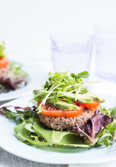 Black Bean Quinoa Burger on lettuce leaf
