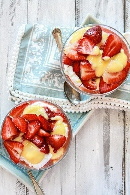 Cheesecake Mousse with Lemon Curd and Strawberries | If you are crunched for time like we were, this is just as tasty without the lemon curd and even easier to prepare. But if you have a little bit of extra time the lemon curd takes it just that much better.