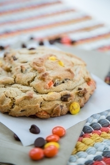 giant cookie with reese's pieces and chocolate chips