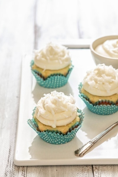 Coconut Lime Cupcakes with Coconut Lime Cream Cheese Frosting | For the recipe, I subbed coconut oil for the butter and added shredded coconut, lime zest, and lime juice to the batter. The frosting also showcases coconut oil with some lime juice.