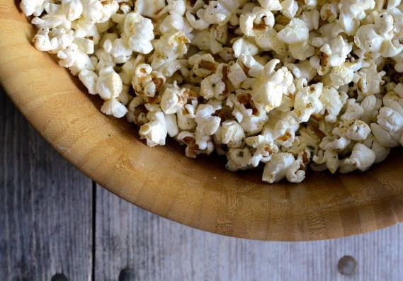 Browned Butter Rosemary Popcorn | Regular popcorn gets a bit of an update with browned butter, rosemary, pepper and sea salt.