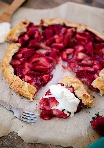 This Fresh Strawberry Galette with Almond Crust emphasizes the sweet juiciness of the strawberries without much added sugar.