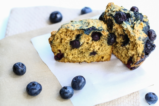 whole wheat blueberry muffin cut in half