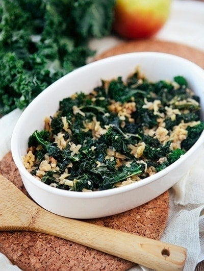 Sweet Braised Kale with Apples and Nuts | This Sweet Braised Kale is unexpectedly good and I don't doubt it will steal your heart too.  Enjoy!