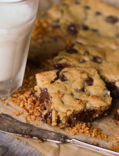 Chocolate Chip Cookie Bars with a Pretzel Crust
