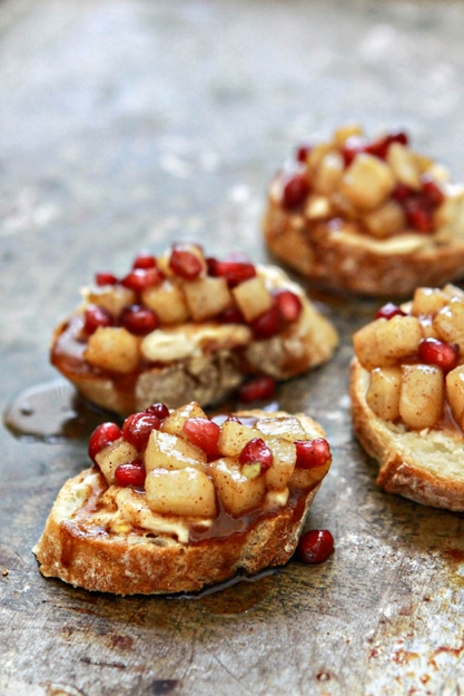 Spiced Pear and Pomegranate Crostini