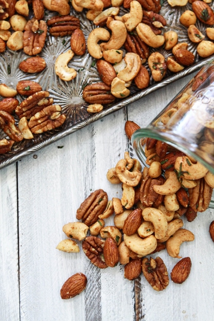 sweet and spicy rosemary mixed bar nuts