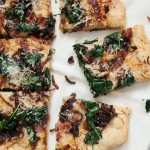 Caramelized Onion, Spinach and Bacon Pizza 1