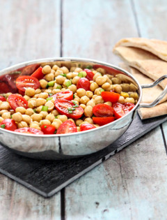 Warm Chick Pea Salad with Tomatoes