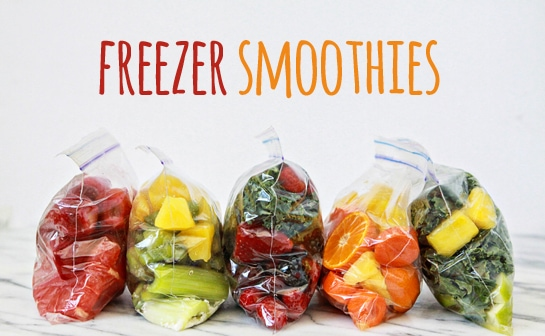 5 freezer smoothie bags on countertop