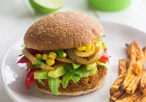 Southwestern Sweet Potato Veggie Burgers   A quick and easy, vegan burger with a little taste of the Southwest! These burgers make a perfect, healthy dinner for grilling season or Meatless Monday.