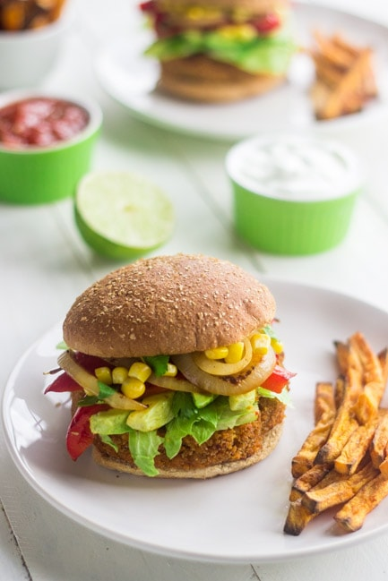 Southwestern Sweet Potato Veggie Burger