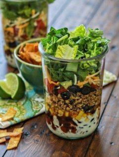 layered ground chicken taco salad in a jar recipe