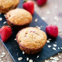 Whole Grain Strawberry Oatmeal Muffins