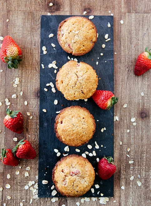 strawberry muffins on a serving tray