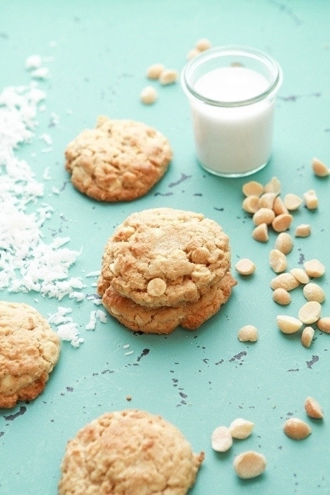 white chocolate chip cookies that were baked from frozen
