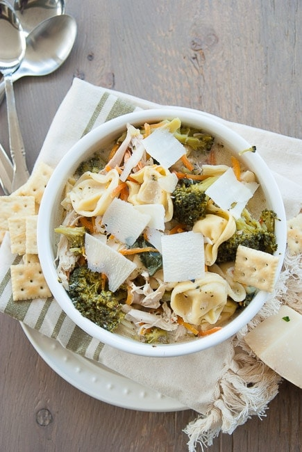 Kale and Broccoli Chicken Tortellini Soup