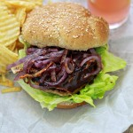 Blue Cheese Mesquite Turkey Burger with Caramelized Onions
