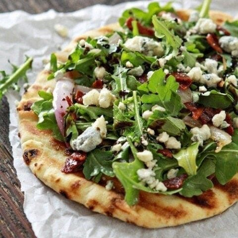 Bacon Blue Cheese Grilled Flatbread with Arugula
