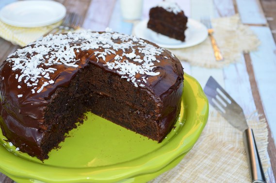 Gluten-Free Chocolate Coconut Zucchini Cake | A gluten and dairy-free chocolate coconut zucchini cake that is rich, moist, and fudgy. Spread with a vegan chocolate coconut frosting.