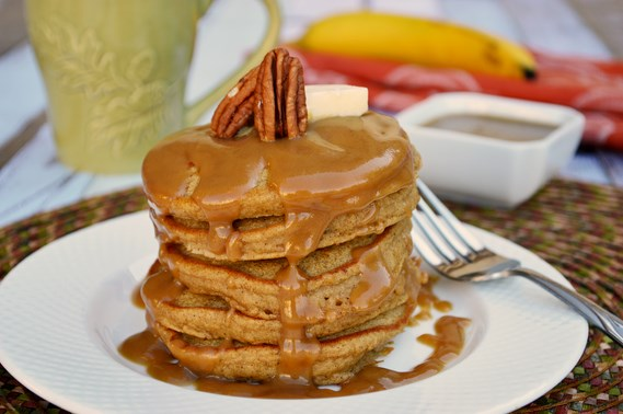 Ginger Molasses Pancakes with Brown Sugar Glaze | Gluten free pancakes sweetened with a touch of molasses and flavored with ginger, cinnamon and nutmeg. Drizzled with an easy brown sugar glaze.