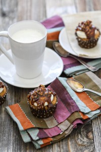 Pumpkin Cupcakes with Cream Cheese Frosting and Caramel Pecan Glaze
