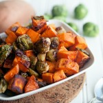 Maple Chipotle Roasted Sweet Potato and Brussels Sprouts