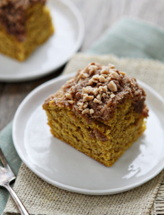 Pumpkin Coffee Cake with Toffee Streusel