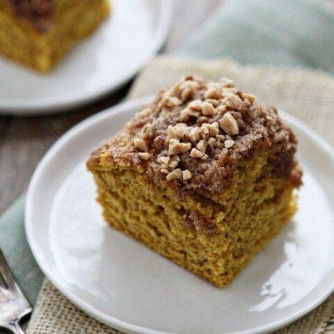 Pumpkin Coffee Cake with Toffee Streusal