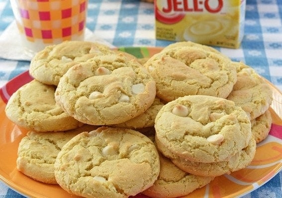 Lemon Cheesecake Pudding Cookies | Gluten free soft and chewy lemon cookies made with pudding mix and mixed with white chocolate pieces.