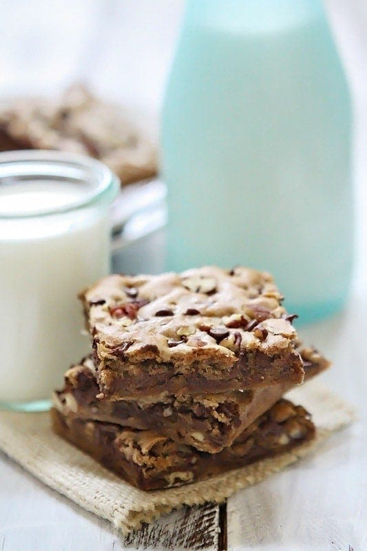 Chocolate Chip Pecan Blondies   This recipe for Chocolate Chip Pecan Blondies is one of my favorite quick recipes when I want that chocolate chip cookie taste.They are the perfect go-to if I don't already have some frozen cookie dough or don't have the time to invest in preparing my favorite chocolate chip cookies.