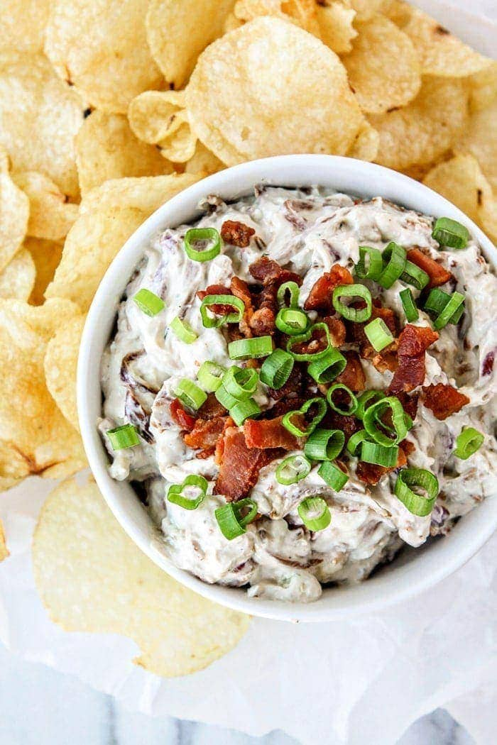 Caramelized Onion Bacon Blue Cheese Dip Good Life Eats