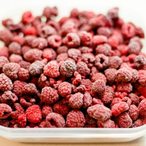 container of frozen raspberries