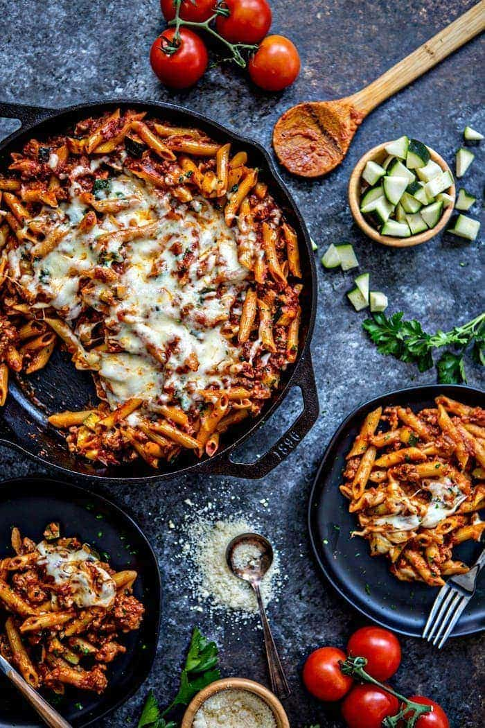 Easy One Skillet Baked Ziti is the perfect, easy comforting pasta dish. Baked Ziti made in a single skillet for a quick weeknight meal.