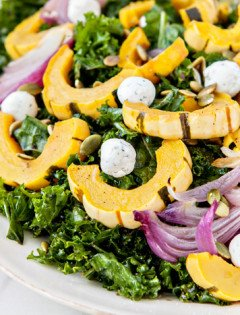 Massaged Kale Salad with Roasted Squash, Goat Cheese, and Pepitas 2