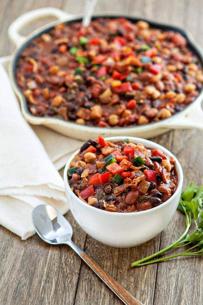 Slow Cooker Baked Bean Trio with Bacon and Peppers