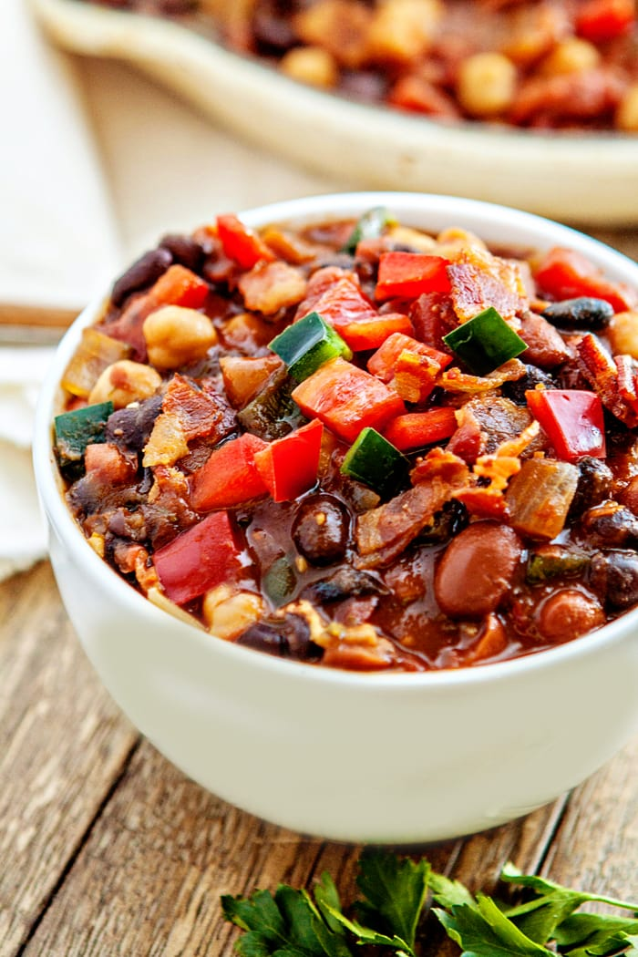 Slow Cooker Baked Bean Trio With Bacon And Peppers Good