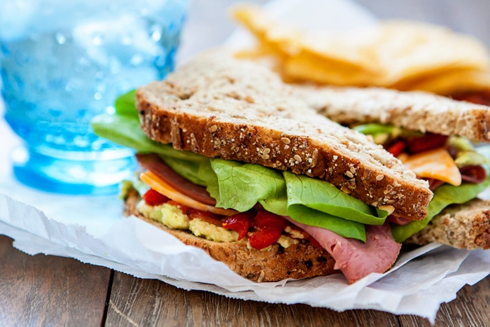 Chipotle Roast Beef Sandwich with Avocado and Roasted Red Pepper